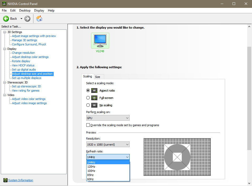 Refresh Rate Setting